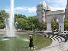 Lady in the fountain, Washington Square Park, New York City by PaulWrightUK, via Flickr