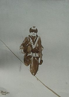 "Boy Riding Sky Cycle Walnut Ink 9 by 12"" Original Art Watercolor Lou Baker Franklin Institute. Watercolor Walnut Ink 9 by 12""."