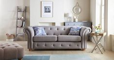 With Amour's scrolled arms, button design and smart, wooden feet, there are so many details to love – and ways to get comfy Dfs Sofa, 3 Seater Sofa Bed, Chesterfield Sofa, Storage Footstool, Sofa Inspiration, Gray Sofa, Fabric Sofa, Pallet Furniture, Orangery Extension