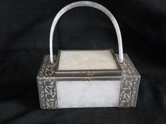 Lucite and metal purse