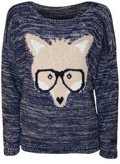 PaperMoon - Pull tricotéà manches longues avec l'image du renard qui porte les lunettes - Pulls - Femmes - Tailles 36 à 42: Amazon.fr: Vêtem...