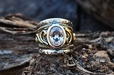 Items similar to Swirly handmade gold & sterling silver ring - US size 7 on Etsy