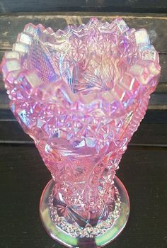 Le Smith Vase Pink Carnival Iridescent Glass Pin Wheel Saw Tooth | eBay