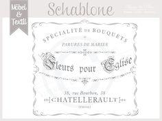 Vintage Schablone * Fleurs pour...*Franske Shabby von Basket & Pillow auf DaWanda.com