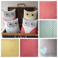 owl pillow, mint green owl, coral owl, yellow owl, coral pink owl, pastel polka dot pillow, nursery decor, baby shower decor, READY TO SHIP