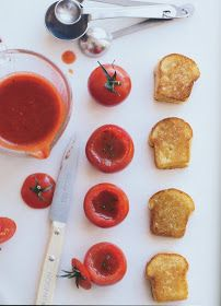 Mini Grilled Cheese Sandwiches and Tomato Soup in Cherry Tomatoes