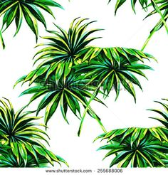 Beautiful seamless tropical jungle floral pattern background with watercolor palm leaves