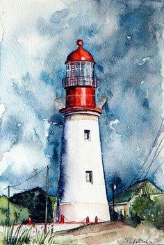 Lighthouse Original watercolour painting on aquaell paper cm. Watercolor Landscape Paintings, Watercolor Artwork, Watercolor Illustration, Watercolor Landscape Tutorial, Watercolor Sketch, Art Sketches, Art Drawings, Lighthouse Painting, Art Abstrait