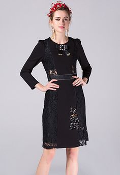 Lace Patchwork Sexy Black Dress Runway Designer Women's Long Sleeve Animal Cat Sequined Slim Dress Work Wear