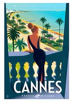 Vintage travel poster Cannes #VintageDestination