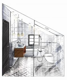 Interior design sketches for beginners interior design sketching Interior Architecture Drawing, Interior Design Renderings, Drawing Interior, Interior Design Portfolios, Interior Rendering, Interior Sketch, Room Interior Design, Architecture Design, Classical Architecture