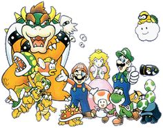 Group art from #Super Mario bros deluxe from the official artwork set for #SuperMarioBros Deluxe on the #GameBoy Color. #Retrogaming #Nintendo. Click here for more SMB Deluxe http://www.superluigibros.com/super-mario-bros-deluxe-gameboy-colour