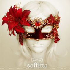 Handmade Masquerade Masks And Costume Accessories by SOFFITTA Gold Masquerade Mask, Masquerade Party, Red Gold, Halloween Face Makeup, Masquerade Ball, Mascaras, Mask Party