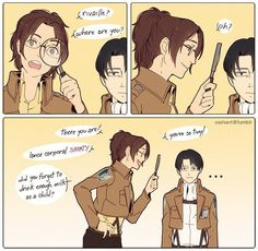 Levi looks like he's going to go on a murderous rampage or beat Hanji up.