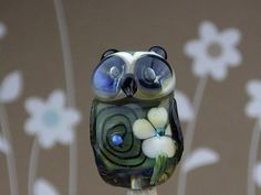 Oscar.... lampwork owl bead... sra.......... PAY by DeniseAnnette, $0.20