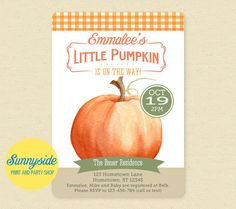 Printable little pumpkin baby shower invitation is perfect for your little Fall bundle of joy... farm-y vintage design with orange gingham.