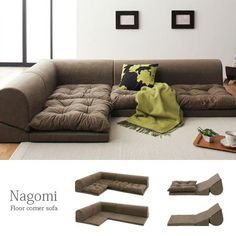 Rakuten: I relax in couch-style more! Garbage [interior] which is a floor corner sofa [Nagomi] [furniture] [sofa] [three credit] [fabric] [corner sofa (floor type)]- Shopping Japanese products from Japan Floor Couch, Floor Cushions, Cushions On Sofa, Sofa Couch, Sofa Beds, Daybed, Colorful Couch, Home Interior, Interior Design