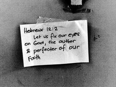 Let us fix our eyes on God...