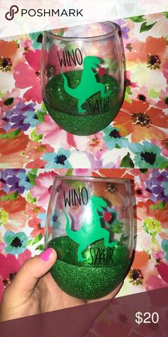 """""""WINO SAUR"""" wine glass Green glitter seal, T. rex """"wino saur"""" with his own glass of merlot Only have a few of these available first come first serve! As always, my creations are HAND WASH only. Easy to customize and I do take requests for orders! Check my listings for more :) kate spade Accessories"""