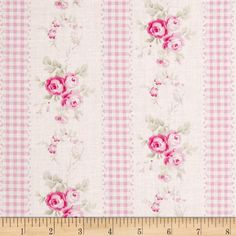 Tanya Whelan Slipper Roses Country Ticking Pink from @fabricdotcom  Designed by Tanya Whelan for Free Spirit, this cotton print is perfect for quilting, apparel and home decor accents.  Colors include white, shades of green and shades of pink.  This stripe is printed parallel to the selvedge.