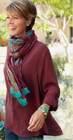 Soft Surroundings Catalog.....love this scarf & contrasting bracelet!