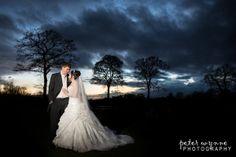 Beautiful sunset wedding portrait. Charlotte and Joel's wedding at the Swettenham Arms.