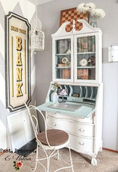 Vintage Secretary Desk Makeover Ideas - Within the Grove Painted Secretary Desks, Antique Secretary Desks, Secretary Desk With Hutch, Desk Hutch, Desk Cabinet, Secratary Desk, Kid Desk, Office Desk, Paint Furniture