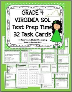 GRADE 4 VIRGINIA SOL MATH Test Prep TASK CARDS