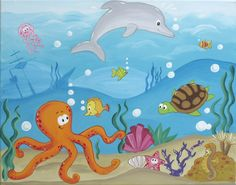 11x14 print of Under the Sea painting via Etsy