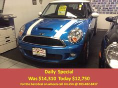 2009 Mini Cooper S Turbo, 6 speed, moon roof, premium audio with only 55k miles! For the best deal on wheels call Jim Zim @ 203.482.8417