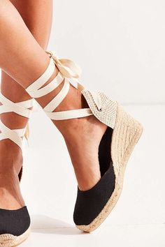 Slide View: 4: Soludos Linen Espadrille Tall Wedge Sandal