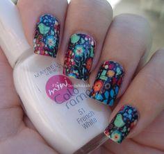 Flower and Bird Nail Art