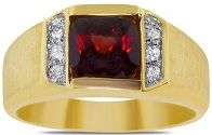 #Jewelry #Ring Men's Ring with Garnet in 10k Yellow Gold
