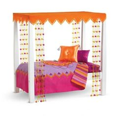 American Girl Doll Julie's Classic Canopy Bed and Bedding Set NEW! Muebles American Girl, Cosas American Girl, American Girl Doll Julie, American Girl Furniture, American Girl Doll Bed, Girls Furniture, Doll Furniture, American Girls, House Furniture