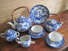 Antique Nippon Tea Set Blue Cherry Blossom 15 Pieces Tokusei Mark Teapots & Tea Sets photo