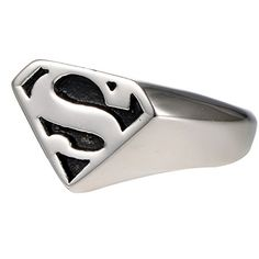 Cool Kids Boys Mens Jewelry Silver Stainless Steel Superman Superhero Symbol Ring Band. Material: 316L Stainless Steel, Vintage Handmade, Well Polished Finish. Ring Surface: 1.7CM*1.3CM, About 0.7Inch * 0.5Inch. It will Never Get Fade/Tarnished. Silver Black Celtic Gothic Punk Fashion Trendy Design. Excellent Quality, Comfort Fit and Good Price. Availabe in Different Sizes, Perfect Gift for Your Friends,and Familry.