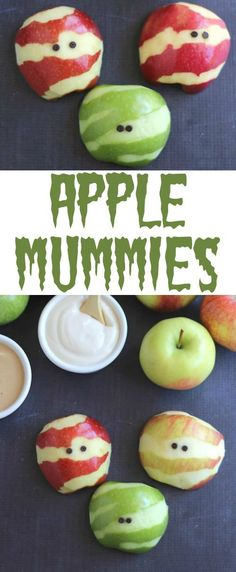 These adorable Apple Mummies are such an easy, healthy Halloween treat! Your little ghosties will gobble them up! A perfect fruit snack for Halloween parties, spook-tacular fruit trays, or a fun after-school treat! ~ from www.TwoHealthyKitchens.com