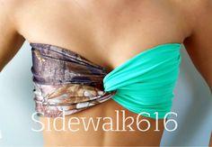 Real Tree Camo and Mint Bandeau Top Spandex Bandeau Bikini Swimsuit