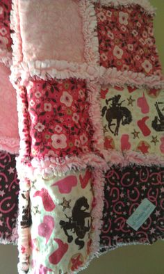 Baby Girl Rag Quilt Wanna Be A Cowgirl Riley by flutterflybaby, $58.00 @Debbie Arruda Sangimino