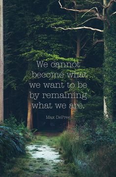 """We cannot become what we want to be by remaining what we are."""
