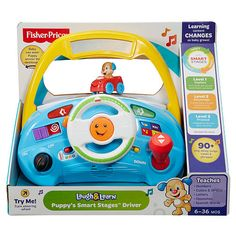 Who's steering all the role play fun with this toy car dashboard? Baby, that's who! The action gets rolling as baby drives Puppy across the dashboard in his bright red car. And we're just getting revved up... Knowing how little ones love to push, pull, turn and slide, we've loaded this toy dashboard with buttons, gadgets and gizmos. When tots turn the wheel, twist the key, beep the horn, move the shifter up or down, or press any of the four radio buttons, they're rewarded with sing-along…