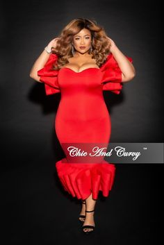 19e844be4990 Final Sale Plus Size Off the Shoulder BodyCon Dress with Exaggerated Ribbon  Sleeves and Bottom in Red. Chic And CurvyFull ...