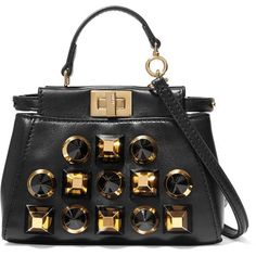 Fendi Peekaboo micro studded leather shoulder bag (53 980 UAH) ❤ liked on Polyvore featuring bags, handbags, shoulder bags, black, crossbody cell phone purse, genuine leather handbags, crossbody purses, leather shoulder handbags and leather cross body purse