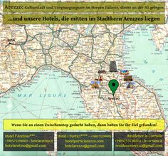 La versione in tedesco della nostra cartolina degli Hotel a Arezzo sul percorso della A1