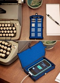 TARDIS Phone Case For all the lovely Doctor Who fans… Diy can be found here :) Oh my word, I MUST make this! Given all the access to info on smartphones, it's literally bigger on the inside. The Tardis, Tardis Art, Dr Who, Geek Crafts, Diy Crafts, The Doctor, Eleventh Doctor, Couture Vintage, Do It Yourself Fashion