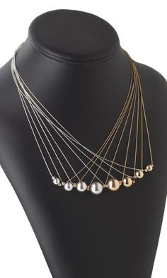 Multi-Strand Necklace with Designer --Lieve Meuris - Sterling Silver Beads and 14Kt Gold-Filled Beads and Chain  A8HQ Symphony of Gold and Silver