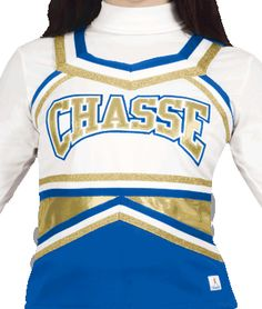 Metallic Spark Cheerleading Uniform Top by Chassé - 12 popular colors available
