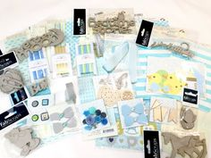 The listing is for one set of Cuddle Boy Collection Kit.  The kit is loaded with beautiful 12 x 12 inches papers from Authentique, stickers, Prima Flowers, handmade embellishments, FanScraps Chipboard pieces, buttons, and many more. Everything you see in the pictures is what you will receive in your package. You will receive over 373 items and the retail value is over $40.  Use this kit to create a beautiful baby boy mini album, scrapbook layout, banner, baby shower decor, baby decor…