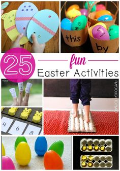 25 Must-Try Easter Activities for Kids. Fun math, reading and science activities in one spot ~Playdough to Plato~ Easter Activities For Kids, Easter Games, Fun Games For Kids, Toddler Learning Activities, Spring Activities, Easter Crafts For Kids, Holiday Activities, Science Activities, Kids Fun