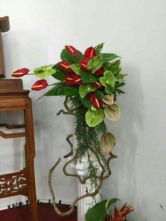 Tropical Flower Arrangements, Funeral Flower Arrangements, Church Flowers, Funeral Flowers, Flowers Garden, Exotic Flowers, Tropical Flowers, Church Wedding Decorations, Christmas Decorations